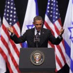 U.S. President Obama gestures during his address to Israeli students at the International Convention Center in Jerusalem